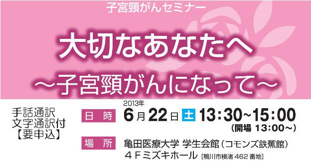 2013年6月22日(土)亀田総合病院での子宮頸がんセミナーチラシの一部
