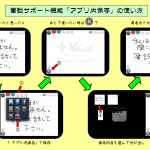 『UD手書き』ver1.5.0で加わったアプリ内保存(筆談サポート)機能の使い方説明図