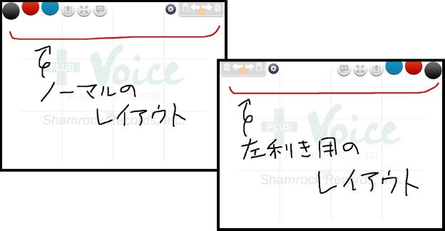 「UD手書き」通常のボタン配置と左利き用ボタン配置の比較