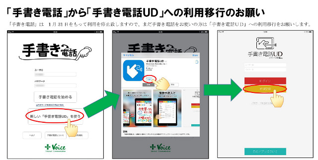 「手書き電話」から「手書き電話UD」への利用移行のお願い(簡易画像)